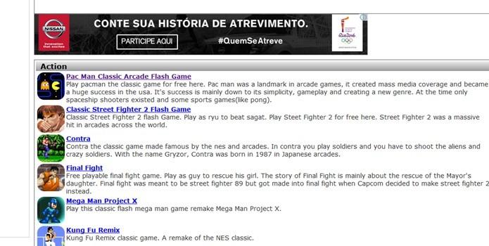 Seleção dos jogos está na página inicial do site (Foto: Reprodução / Dario Coutinho)