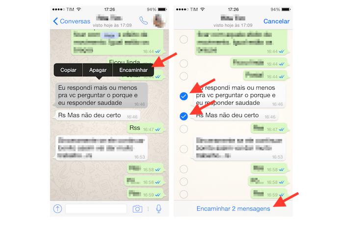Utilizando a opção de encaminhamento de mensagens no WhatsApp para iPhone (Foto: Reprodução/Marvin Costa)