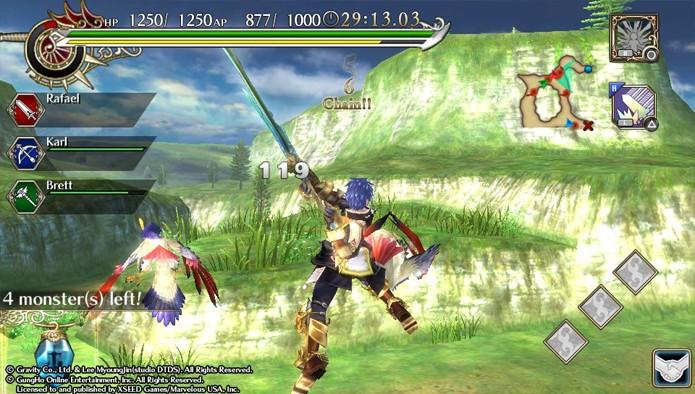 As lutas de Ragnarok Odyssey ACE às vezes são levadas para os céus (Foto: Reprodução)