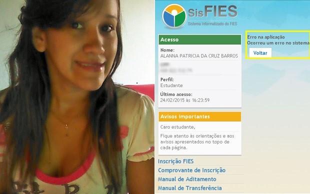 Alanna Barros não consegue acessar sistema do Fies porque mensagem indica erro (Foto: Arquivo pessoal/Alanna Barros)