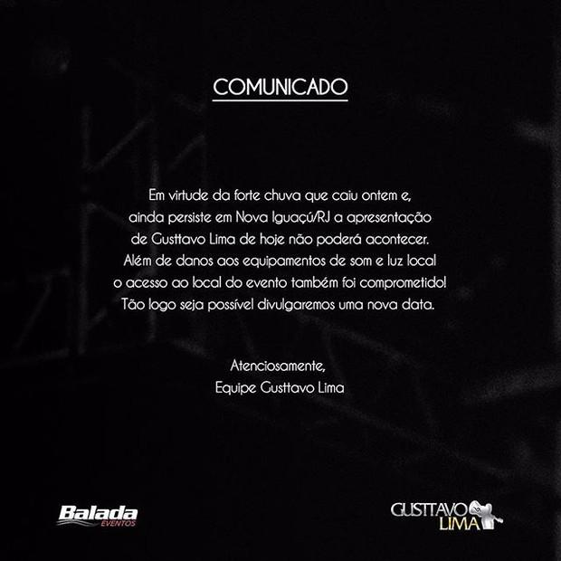 Gusttavo Lima cancela show por conta de forte chuva no Rio (Foto: Reprodução/Instagram)