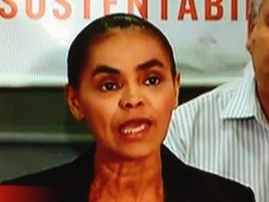 A ex-senadora Marina Silva, após reunião com a Rede (Foto: Reprodução/GloboNews)