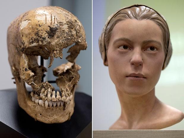O crânio e a reconstrução facial de Jane, garota de 14 anos que teria sido vítima de canibalismo nos EUA no século 17 (Foto: Carolyn Kaster/AP Photo)