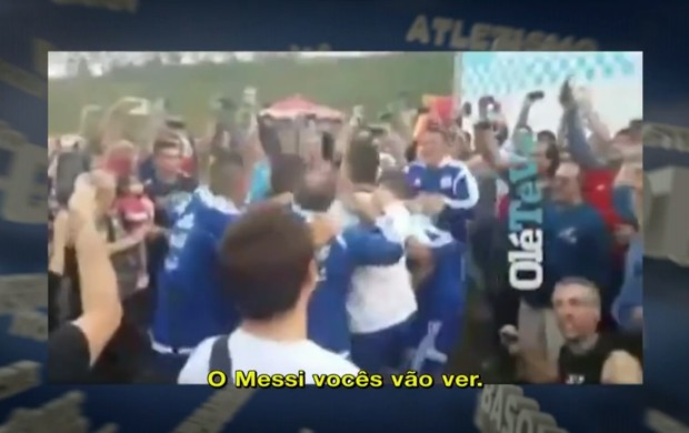 Jogadores argentinos cantam e pulam provocando o Brasil (Foto: Reprodução SporTV)