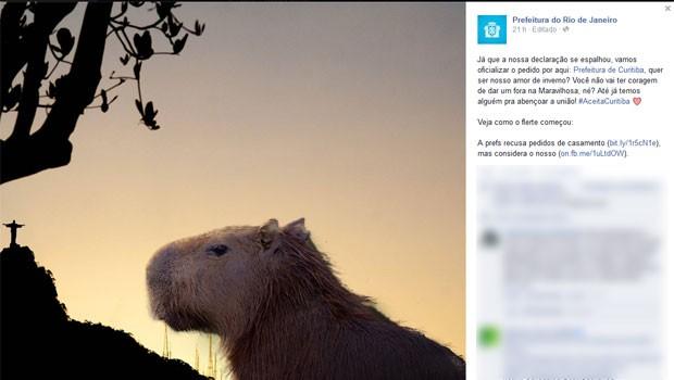 Perfil da Prefeitura do Rio fez o pedido na web (Foto: Reprodução / Facebook)