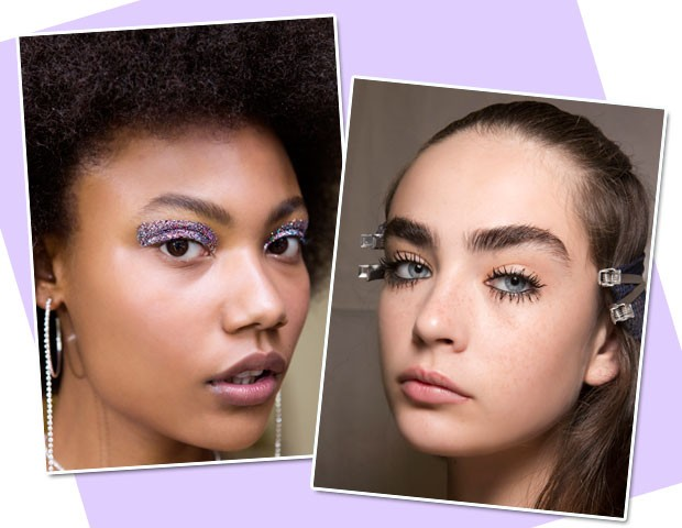 À esquerda: make com brilho que deixa o visual glamuroso no ato/ À direita: crie olhos dramáticos com muitas camas de máscara para cílios (Foto: Imaxtree)