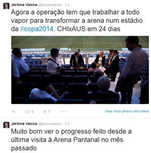 Valcke fala sobre Arena Pantanal no twitter (Foto: Reprodução)