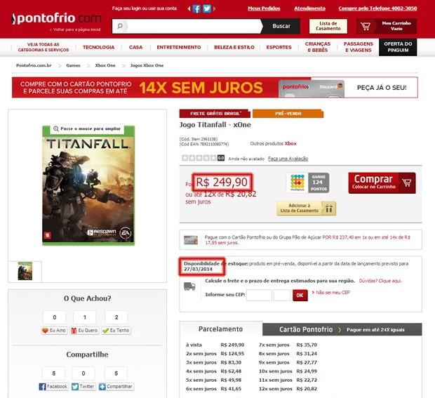 No Ponto Frio, 'Titanfall' é vendido em pré-venda por R$ 250 com lançamento previsto para 27 de março (Foto: Reprodução/Submarino/Arte G1)