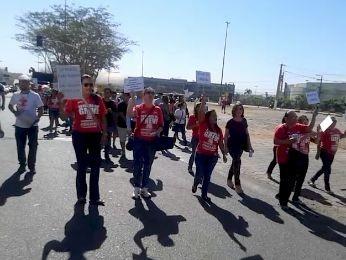 Protesto de grevistas foi realizado nesta terça-feira  (Foto: Cleones Celestino Batista/ Sindisprev-MT)