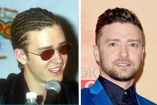 Justin Timberlake em 2000 e em 2015 (Foto: Getty Images)