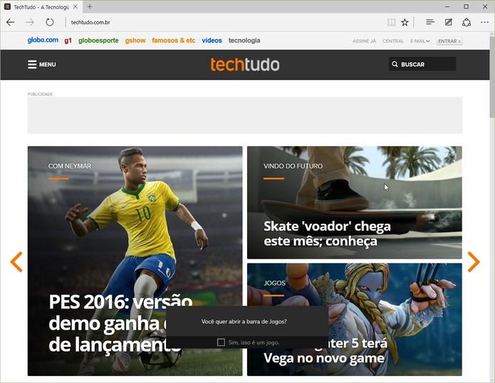 A barra também pode ser usada em outros aplicativos, como seu navegador (Foto: Reprodução/Cássio Barbosa)