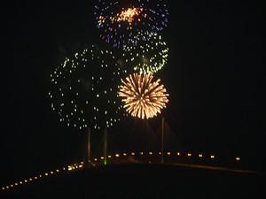 Fogos sobre a Ponte Newton Navarro (Foto: Divulgação/Governo do Estado)