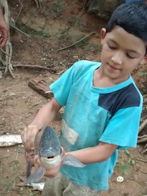 Anthony, de 7 anos, segura um dos peixes mortos pela 'água preta' (Foto: Antônio Milton do Nascimento / TEM Você)