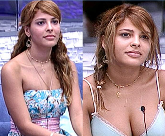 Gyselle quando entrou no BBB 8 e depois de algumas semanas na casa (Foto: TV Globo)