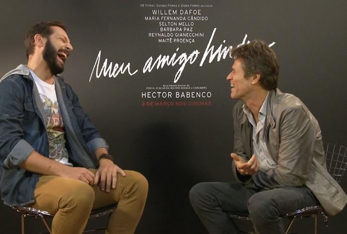 Um dos entrevistados foi o ator norte-americano Willem Dafoe (Foto: Reprodução / TV TEM)
