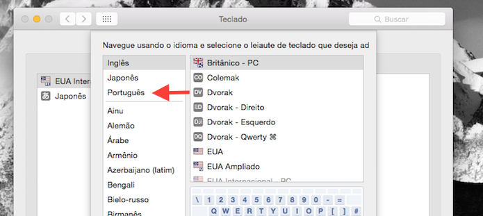 Acessando as opções de leiaute de teclado para o idioma português (Foto: Reprodução/Marvin Costa)