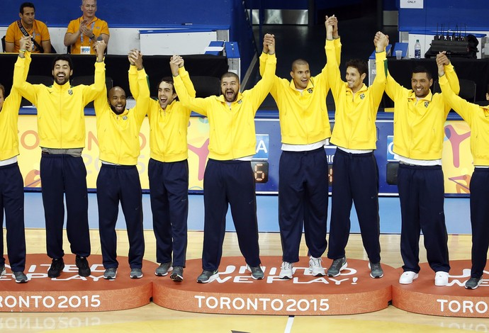 Ouro basquete brasil pódio pan-americano 2015 (Foto: Peter Casey/Reuters)