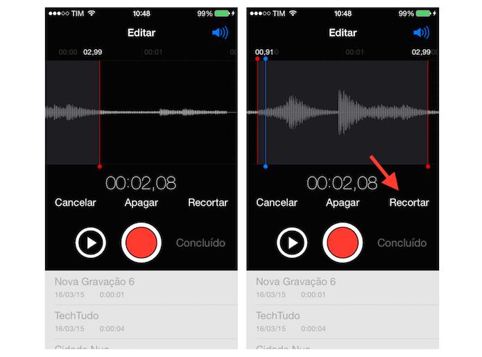 Recortando trechos indesejados de uma gravação no iOS (Foto: Reprodução/Marvin Costa) (Foto: Recortando trechos indesejados de uma gravação no iOS (Foto: Reprodução/Marvin Costa))