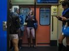 Passageiros viajam sem calças no metrô em várias capitais do mundo