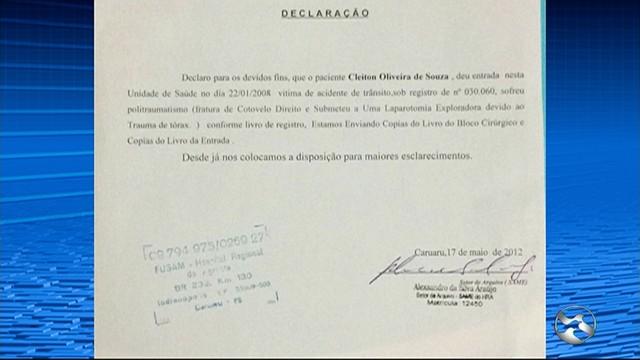 HRA emitiu declaração reconhecendo que Cleiton havia dado entrada na unidade em 2008 (Foto: Reprodução/TV Asa Branca)