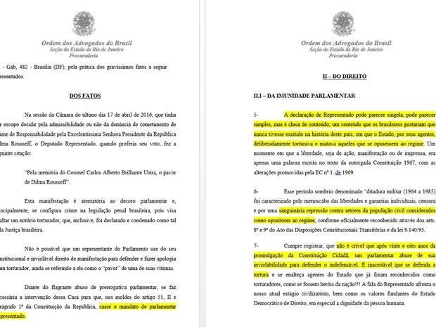 Documento da OAB diz que deputado Jair Bolsonaro 'defende o indefensável' (Foto: Reprodução)