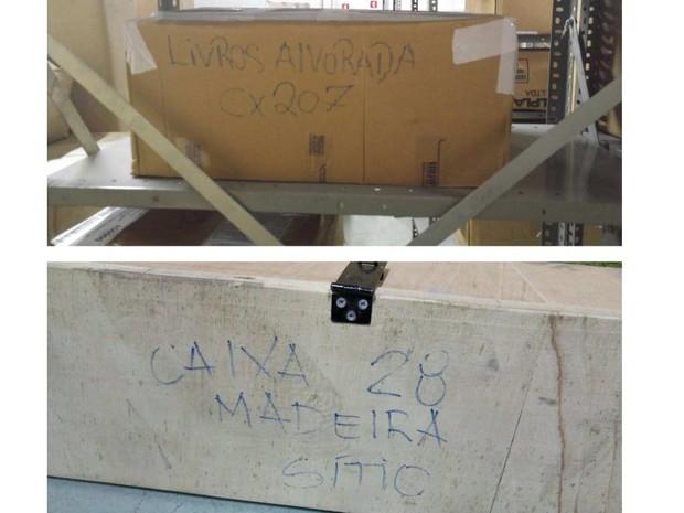 Segundo a PF, algumas caixas têm a indicação 'Presidência da República' (Foto: Reprodução)