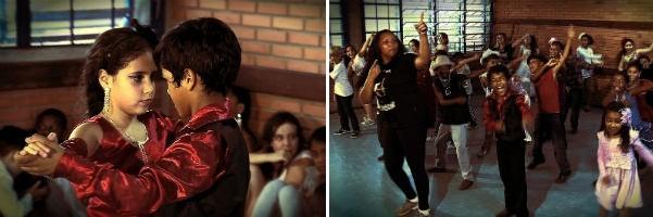 Crianças transformam aula de dança em lição de sala de aula (Foto: Montagem sobre fotos/ Reprodução, RBS TV)