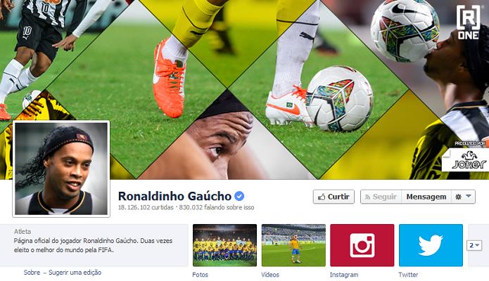 Ronaldinho Gaúcho do Atlético-MG tem 17,887,855 de fãs no Facebook (Foto: Reprodução/Facebook)