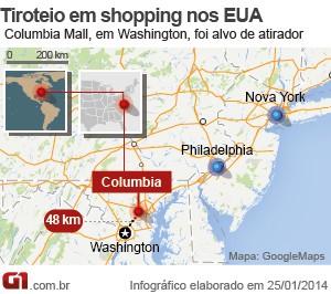 Mapa mostra local onde foi o tiroteio (Foto: G1)