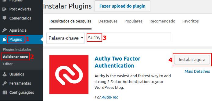 Instalando o plugin Authy no WordPress (Foto: Reprodução/Edivaldo Brito)