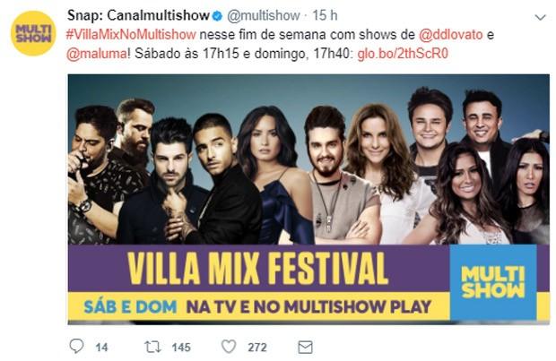 Demi Lovato e Maluma estão confirmados para Villa Mix Fesitval (Foto: Reprodução/Twitter)