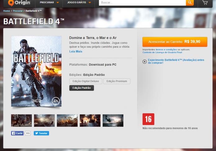 Página de Battlefield 4 na Origin (Foto: Reprodução/Paulo Vasconcellos)