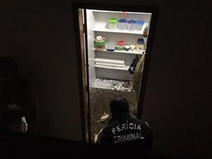 Perícia desconfirou da cerâmica na dispensa (Foto: Walter Paparazzo / G1)