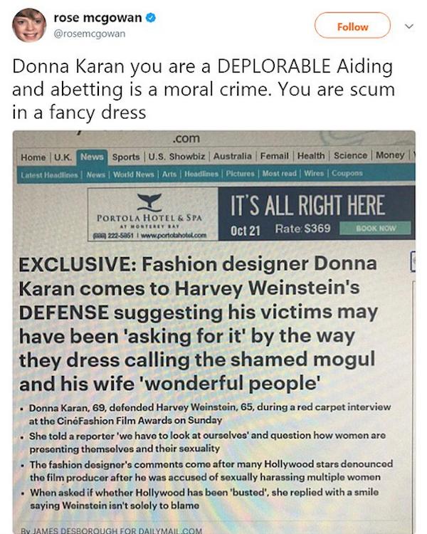 A resposta da atriz Rose McGowan à defesa feita pela estilista Donna Karan ao produtor Harvey Weinstein (Foto: Twitter)