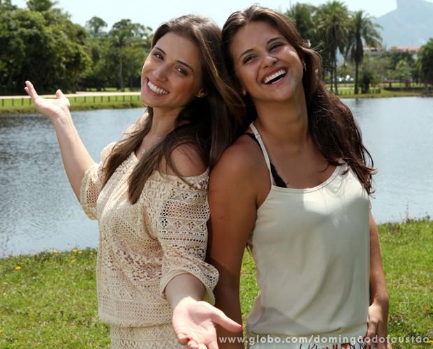 Bailarinas do Domingão se divertem durante sessão de fotos no parque (Foto: Carol Caminha/ TV Globo)