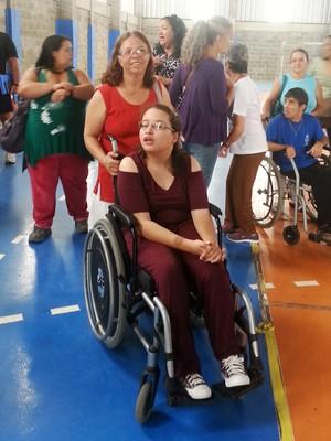 Leonina e Taiza bocha paralímpica Juiz de Fora (Foto: Roberta Oliveira)