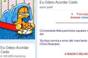 """Comunidade do Orkut """"Eu odeio acordar cedo"""" (Foto: Reprodução/Orkut.com)"""