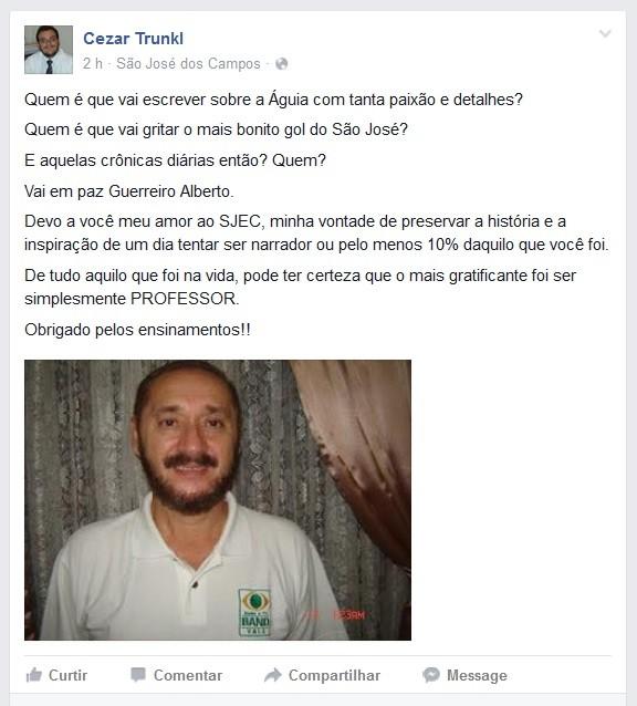 Cezar Trunkl Alberto Simões (Foto: Reprodução/Facebook)