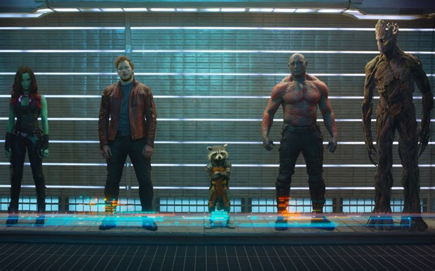 Zoe Saldana, Chris Pratt e Dave Bautista em cena de 'Guardiões da Galáxia' (Foto: Divulgação)
