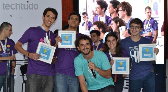 O Grupo que ficou em primeiro lugar no Hackahton Globo, dos Hologramas (Foto: Zingara Lofrano / TechTudo)