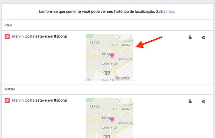 Ação para verificar a última localização de um celular registrada pelo Facebook (Foto: Reprodução: Marvin Costa)