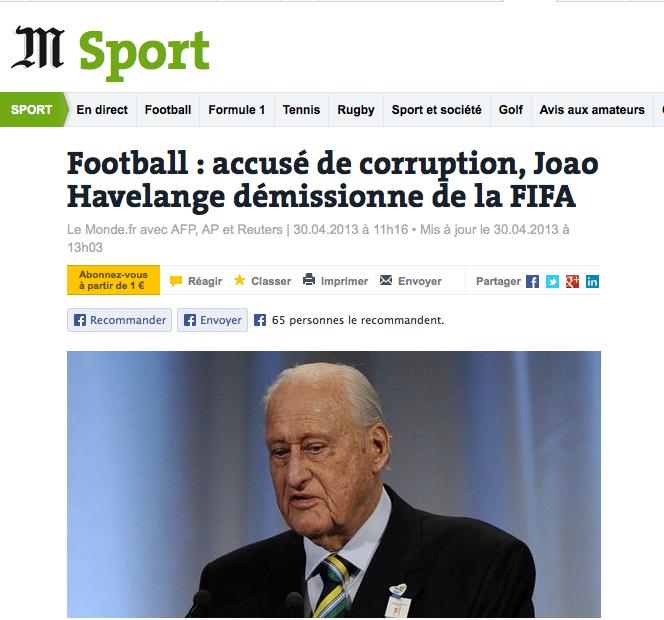 João Havelange destaque no jornal francês 'Le monde' (Foto: Reprodução)
