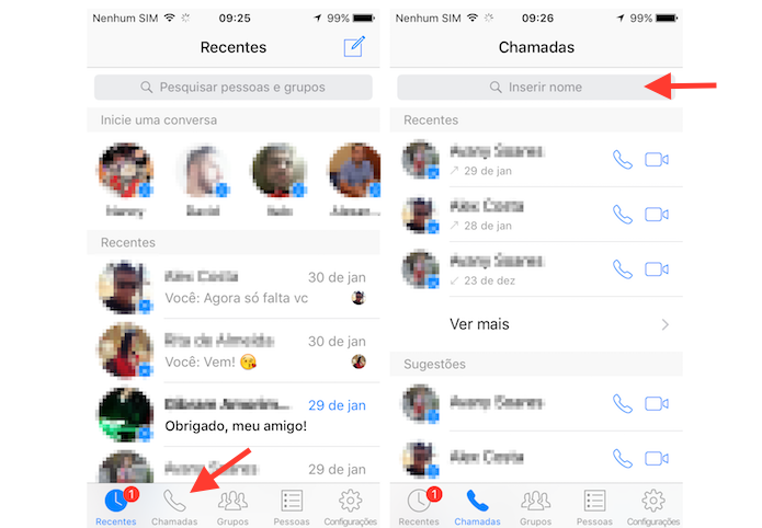 Acessando a tela de chamadas do Facebook Messenger para iPhone (Foto: Reprodução/Marvin Costa) (Foto: Acessando a tela de chamadas do Facebook Messenger para iPhone (Foto: Reprodução/Marvin Costa))