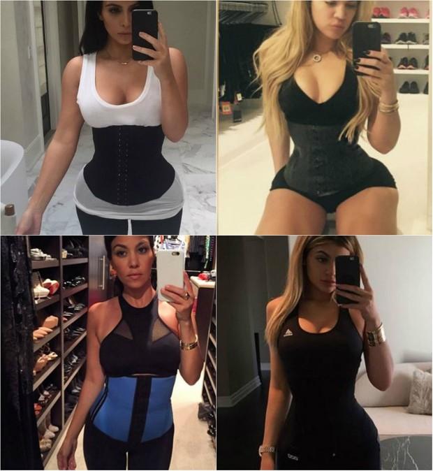 Kim Kardashian, Khloe Kardashian, Kourtney Kardashian e Kylie Jenner usam cinta modeladora para malhar, mas médico faz alerta sobre uso da peça (Foto: Reprodução do Instagram)