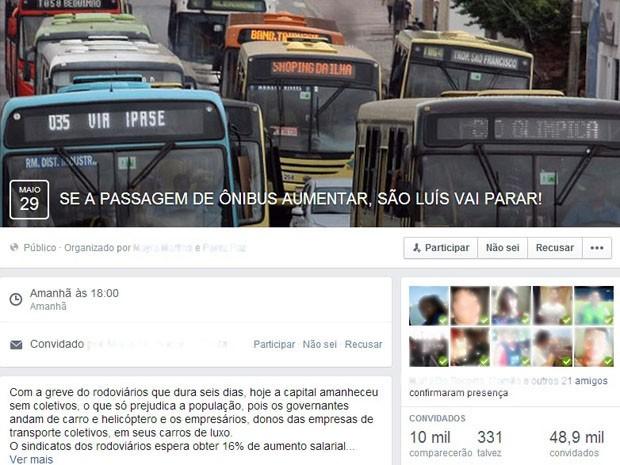 Evento no Facebook convoca usuários para manifestação (Foto: Reprodução / Facebook)