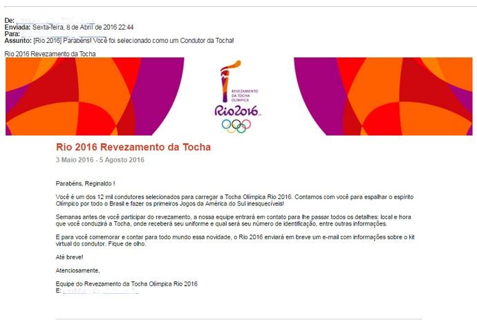 Reginaldo Damião Uberaba revezamento Tocha Olímpica 2016 confirmação (Foto: Reprodução/ Arquivo Pessoal)