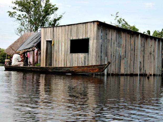 Cheia atingiu casas no alto Pantanal sul-mato-grossense (Foto: Rodrigo Nascimento/ Prefeitura de Corumbá)