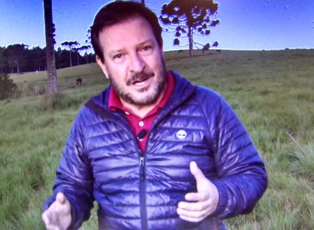 Repórter Ricardo Von Dorff ficou próximo dessa espécie de papagaios  (Foto: RBS TV/Divulgação)