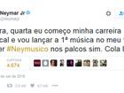 Neymar anuncia no Twitter início de 'carreira musical'
