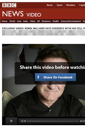 Vírus simula palyer da BBC com suposto vídeo de despedida de Robin Williams (Foto: Reprodução/Symantec)
